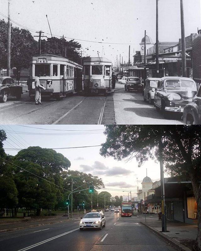 Corner of #Enmore & Addison Rd, #Marrickville, c1951 & 2017. Enmore Park on the left was the first park established in the Marrickville Municipality. Photo: Andy Wenman .. #sydney #history http://fat.ly/xasS (Instagram Image from @beliefmedia, 15th Februa