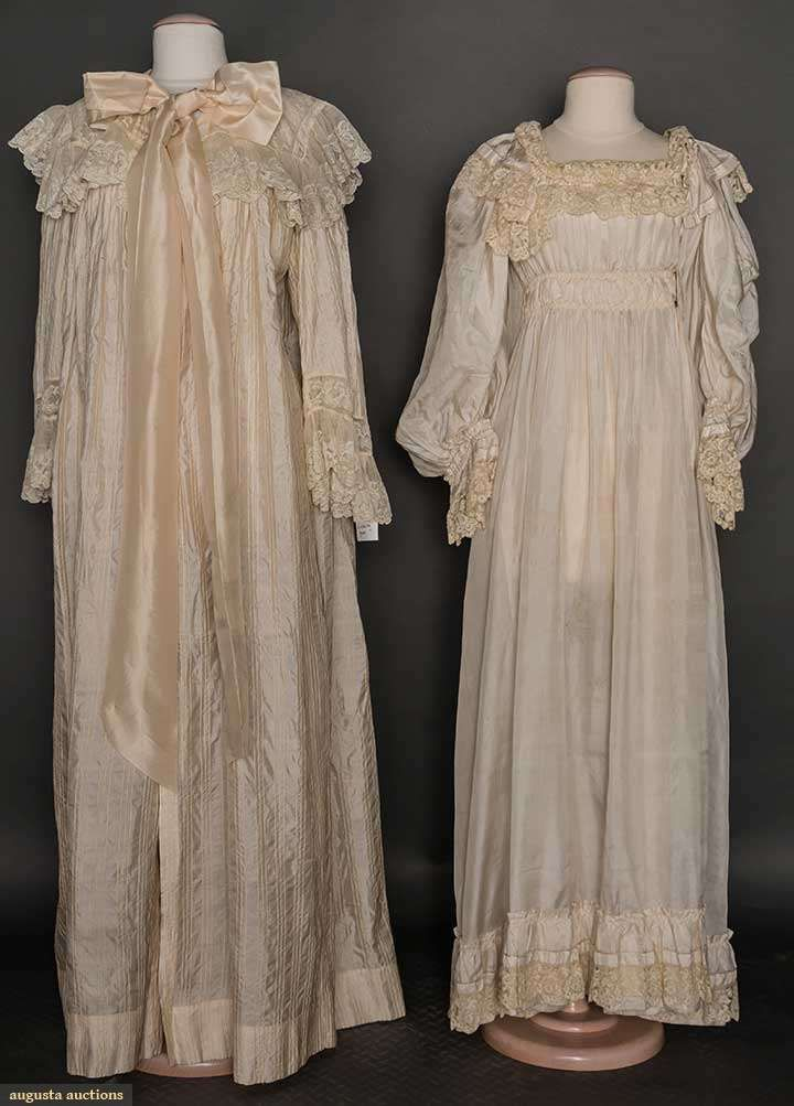 IVORY SILK NEGLIGEE & PEIGNOIR, 1900-1910 Both trimmed in lace flounces: pegnoir of vertically striped brocade, square lace collar & ribbon tie at neck; negligee of China silk, empire, balloon sleeves