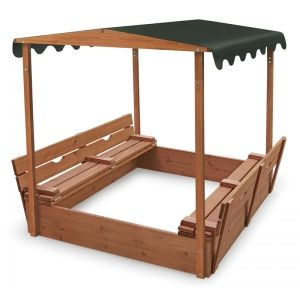 Badger Basket Covered Convertible Cedar Sandbox with Canopy and Two Bench Seats :: Kids Sandboxes :: Playground :: Sport & Outdoor Games :: KidStuffStation.com