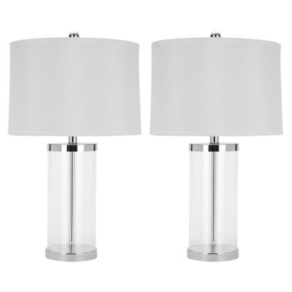 Target Clear Glass Table Lamp with White Fabric Shade (Set of 2) (Includes CFL Bulb) | http://www.target.com/p/clear-glass-table-lamp-with-white-fabric-shade-set-of-2-includes-cfl-bulb/-/A-13961826#prodSlot=medium_1_37&term=glass+lamp | or with black lamp shade