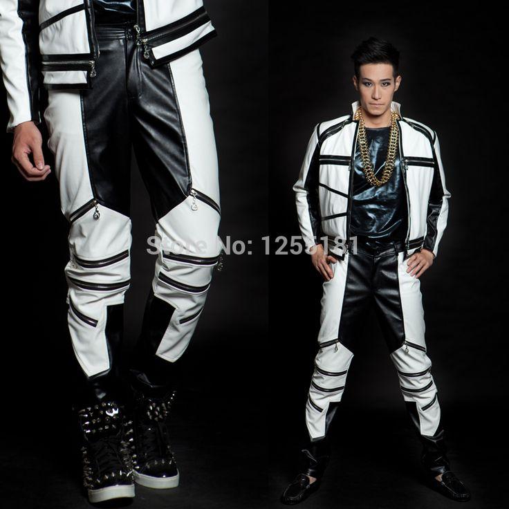 저렴한 새로운 남성 패션 의상 흑백 컬러 블록 mz 일반 버전 지퍼 가죽 바지 댄스웨어 남성 바지, 구매 품질 활성 바지 직접 중국…
