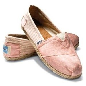 They look like ballerina slippers! Pink TOMS Shoes