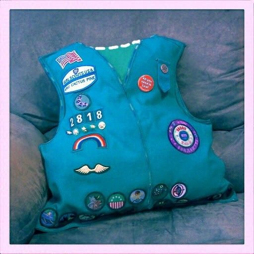 How to make a recycled cushion. Girl Scout Vest Pillows - Step 4