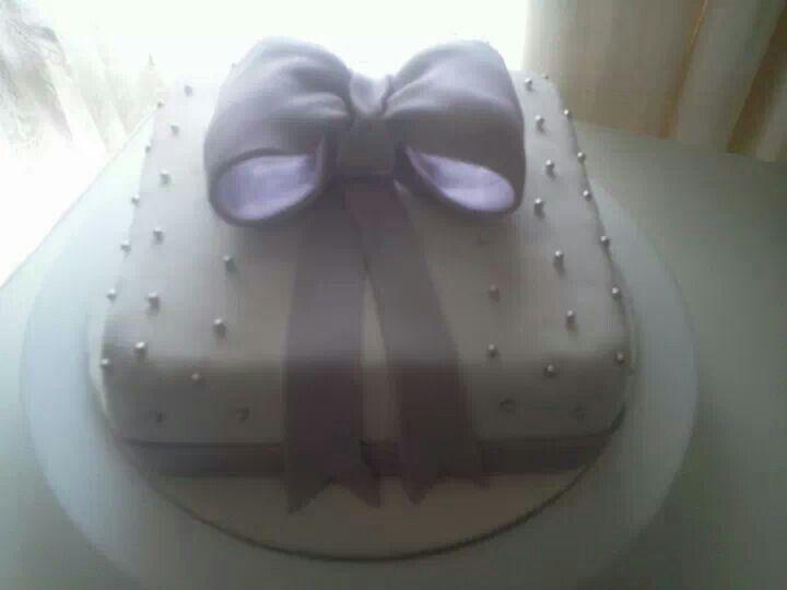 Purple Ribbon Wedding Cake- My First wedding cake.
