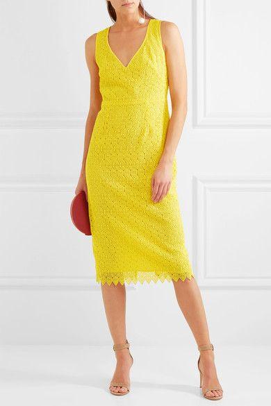 Diane von Furstenberg - Crocheted Lace Midi Dress - Yellow - US14