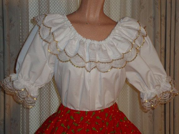blouse with gold trimmed lace by luckycloverleaf on Etsy