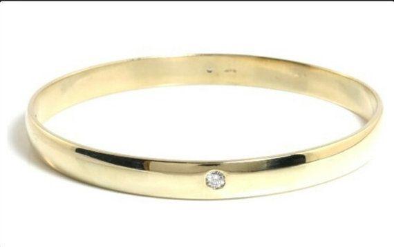 SOLID GOLD DIAMOND Bangle 4 Diamonds Over 23 Grams Weight