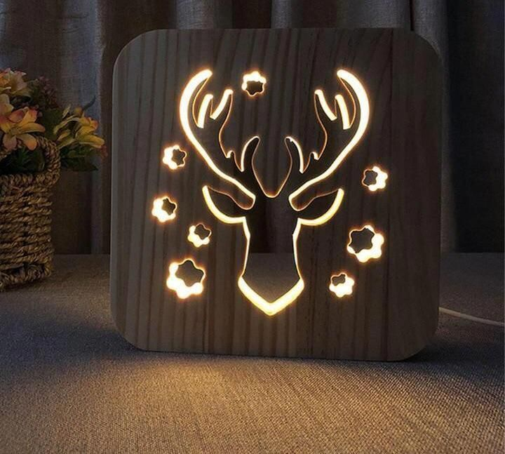 Wooden Engraved Framed Led Lamp Novarian Decor Ledlamp Led Lamp Wood Lamps Lamp
