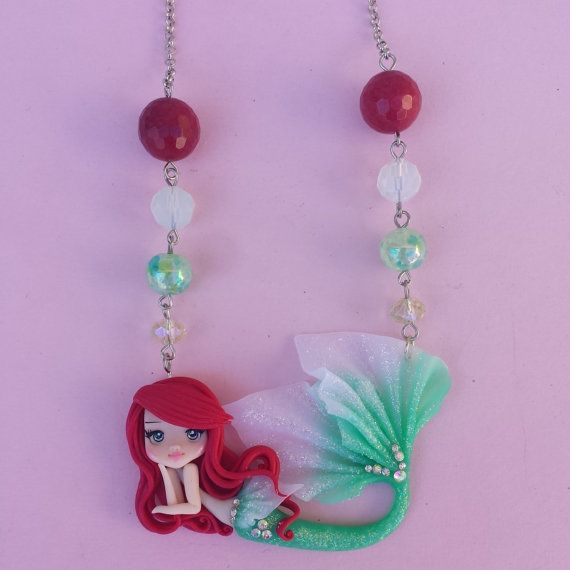 Little Mermaid necklace in fimo polymer clay by Artmary2 on Etsy