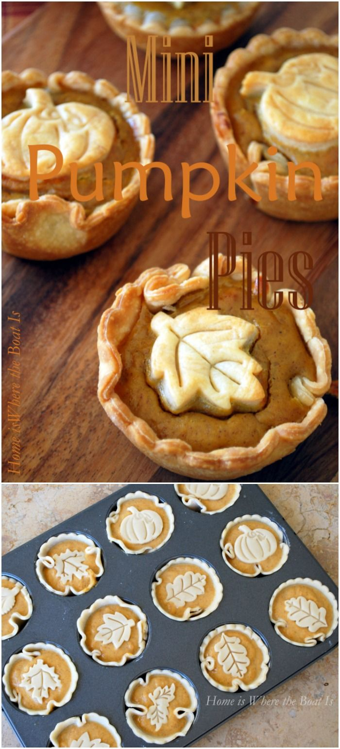 "Mini Pumpkin Pies! Quick and easy to make with a muffin tin and a package of refrigerated pie crusts! -- i wonder if these would freeze well. it'd be great to have individual pumpkin pie available all the time... and by ""great"" i really mean ""detrimental to my waistline"""