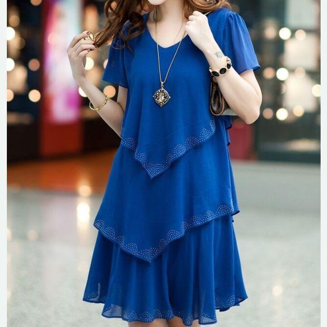 Vestidos Femininos 2015 Women Summer Dress Casual Sexy Vintage V Neck Short Sleeve Black Blue Chiffon Party Dresses Plus Size