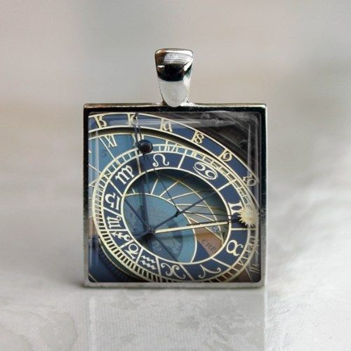 Unisex Men Gift Famous Astronomical Clock in Prague Glass Keychain | LittleApples - Jewelry on ArtFire