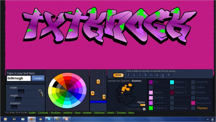Create your own designs with Graffiti Creator. Pick the style of lettering, colors, accents and more!