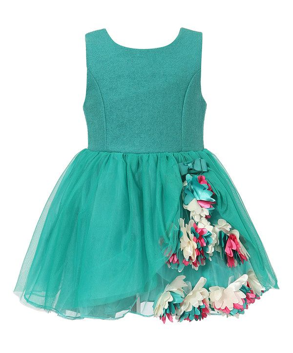 Green Floral Wool-Blend Babydoll Dress