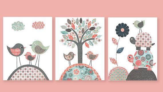 Girls Nursery Aqua Coral Navy Bird Turtle Flower Tree Children's Room Decor Kids Playroom 8 x 10 or 11 x 14 Prints