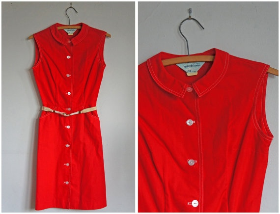Vintage 60s Sleeveless Red Play Day Dress by animalheadvintage, $34.00