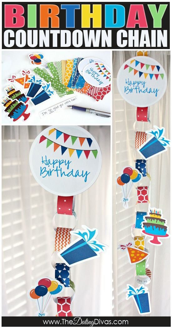 FREE printable Birthday Countdown Chain!  Write little love notes or fun activities on the back of each paper link for a fun birthday tradition.  www.TheDatingDivas.com