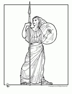 greek myths athena 231x300 Ancient Greek Gods and Greek Heroes Coloring Pages