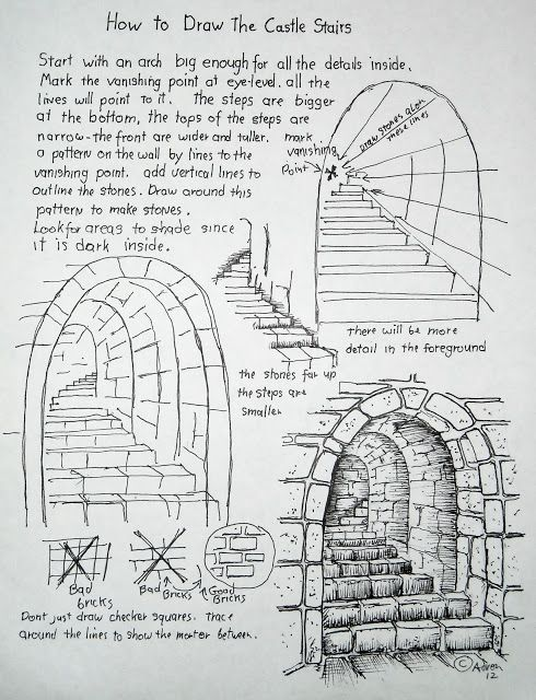 How To Draw Stone Stairs, Lesson and Worksheet - Targeted to Children but good for adults too -http://drawinglessonsfortheyoungartist.blogspot.com/2012/10/how-to-draw-stone-stars-lesson-and.html