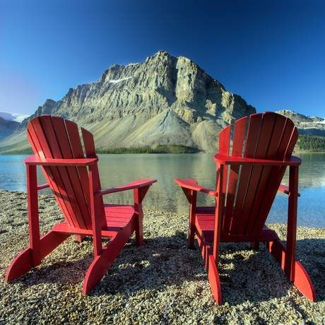 The Banff NP Red Chairs scattered throughout the park. (I think I know which might be the least visited and most romantic location, off the beaten track, off mosquito season and further than I've walked in, just say, too long). Anyways, I read an article that the chairs themselves are a little tacky. But the gift of going on an unprecedented journey together where your final destination is side by side in a beautiful place is timeless. I would wait decades for it ...