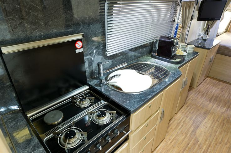 """Your Luxury Caravan has a full """"Galley Style"""" Kitchen  #campingmadeasy"""