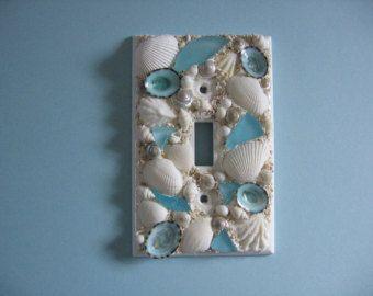Seashell and Seaglass Encrusted Single Toggle by seasideshells