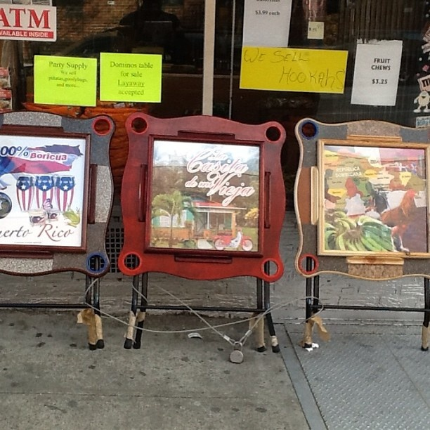 Custom domino tables with cup holders. So Spanish Harlem.