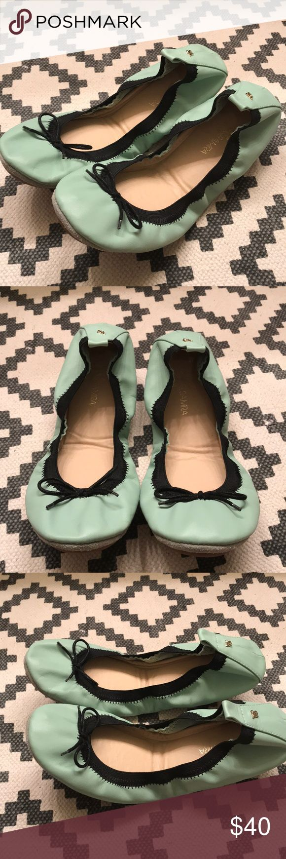 Mint Green Foldable Flat Mint Green Foldable Flats! Perfect for bringing in your purse for when you need a break from your heels! Never worn. Yosi Samra Shoes Flats & Loafers