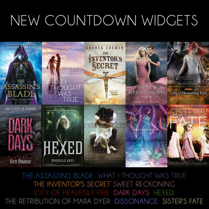 Countdown Widgets: The Assassin's Blade by @Sarah Chintomby J. Maas, What I Thought Was True by @Huntley Rainville Fitzpatrick, The Inventor's Secret by Andrea Cremer, Sweet Reckoning by @Wendy Felts Higgins, City of Heavenly Fire by @Cassandra Dowman Clare, Dark Days by @Kate Mazur Ormand, Hexed by Michelle Krys, Dissonance by Erica O'Rourke & Sisters' Fate by @Jess Liu Spotswood http://safaripoet.blogspot.com/2014/01/new-countdown-widgets.html