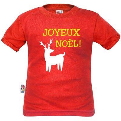 T-shirt enfant Noël : JOYEUX NOËL (m. courtes ou longues)