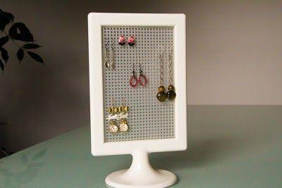 ikea picture frame earrings display #diy #idea