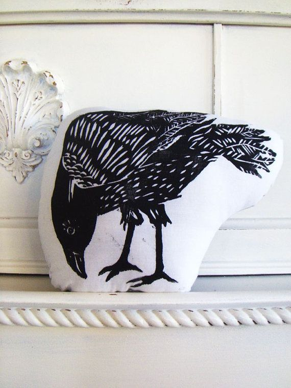 Plush Crow or Raven Pillow Hand Woodblock Printed by LauraFrisk.