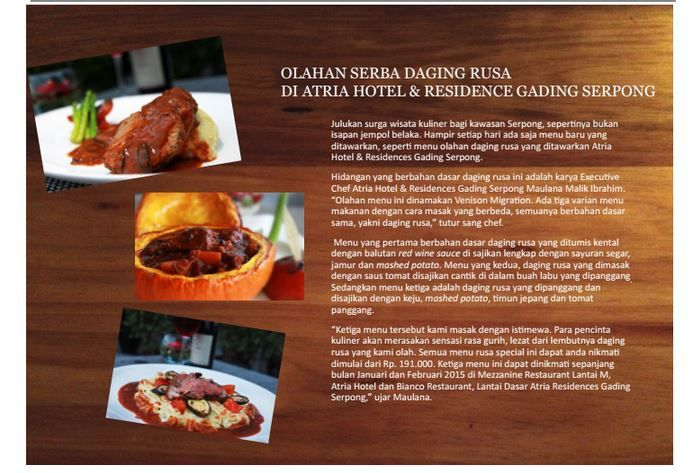 Olahan Serba Daging Rusa di Atria Hotel & Residence Gading Serpong - February 2015 Tabloid Sutera Serpong - Edisi 40