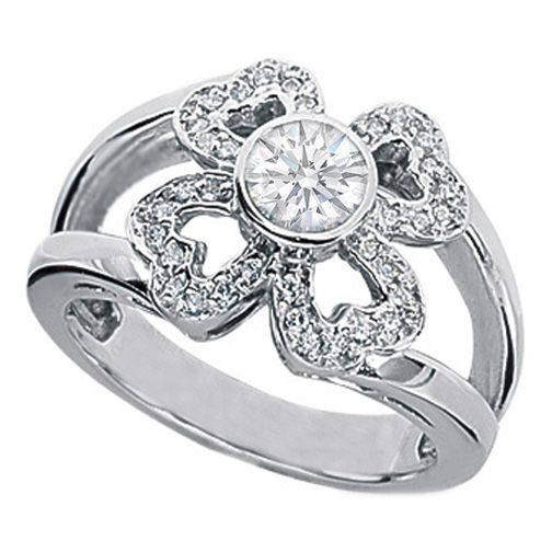 10 best Clover Halo Rings images on Pinterest Halo rings Diamond