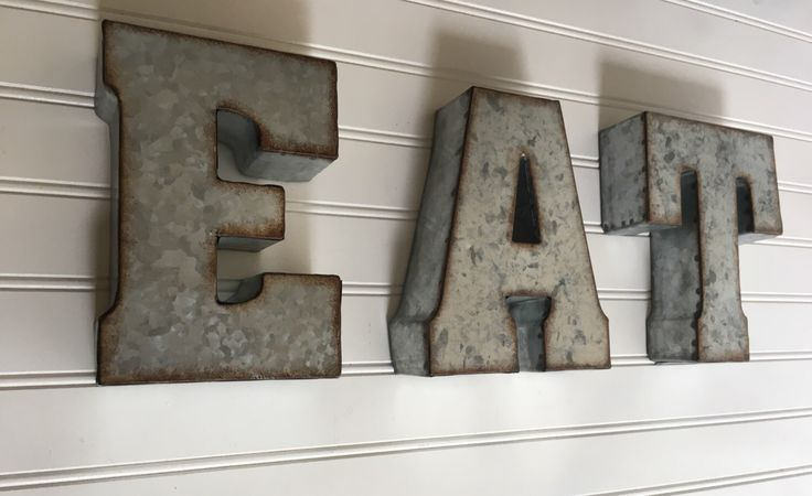 Eat Sign / Metal Letter/ EAT  /Wall Letter Sign / Signage / Rustic Industrial Wall Letters / Yum / Wedding /You Pick  Letters by CountryGirlMarket on Etsy https://www.etsy.com/listing/462445108/eat-sign-metal-letter-eat-wall-letter
