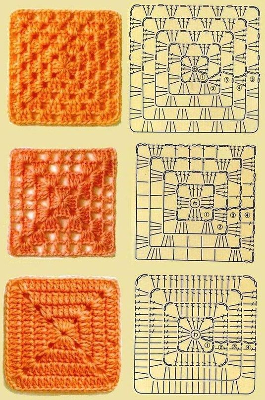 Бабушкины квадраты в вязании - 30 схем.