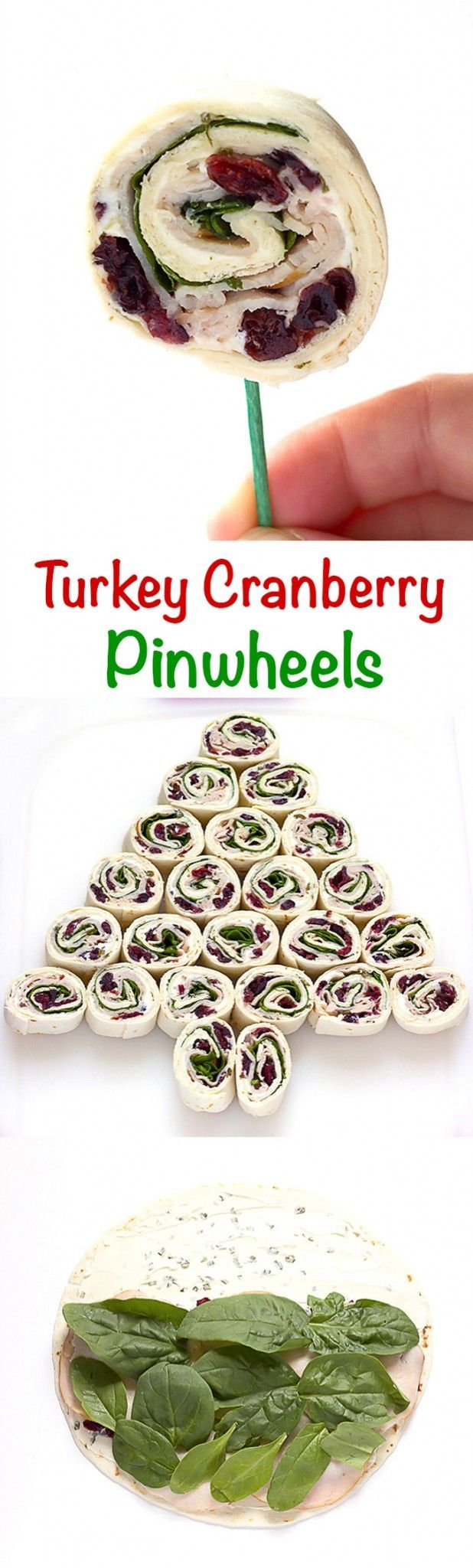 Had these at a pool party and they were DELICIOUS!  Turkey Cranberry Pinwheels - Seasoned cream cheese, dried cranberries, turkey, and spinach rolled up into pinwheels. Perfect #holiday #appetizer. They can even be arranged into the shape of a Christmas tree. #recipe
