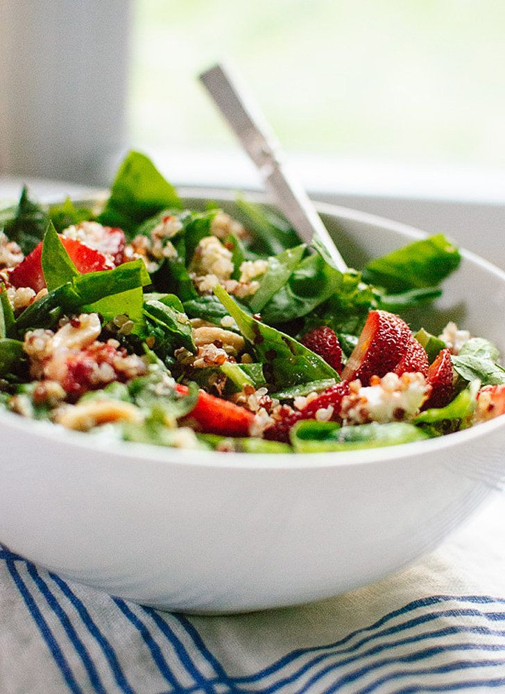 Strawberry and Spinach Salad with Quinoa and Goat Cheese —a classic salad made heartier thanks to quinoa, via @cookieandkate