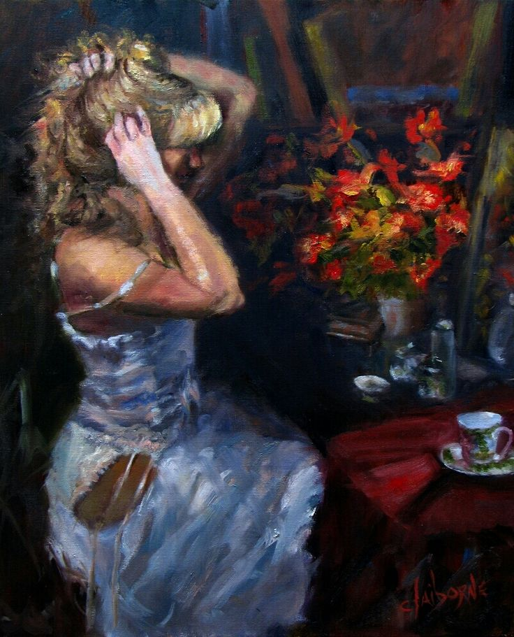 """Oil Painting of woman in a white bustier holding her hair up.  """"White Bustier""""  20 x 24 Oil on Canvas  $2200.00 www.claibornescorner.com claibornescorner@aol.com"""