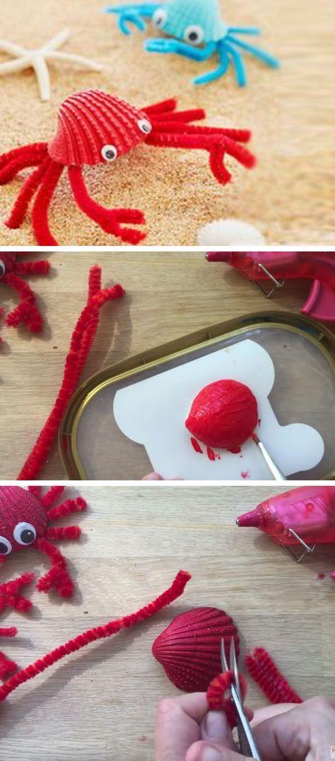 Sea Shell Crabs | 16 DIY Summer Activities for Kids Outside | Fun Summer Ideas for Kids Outside Games