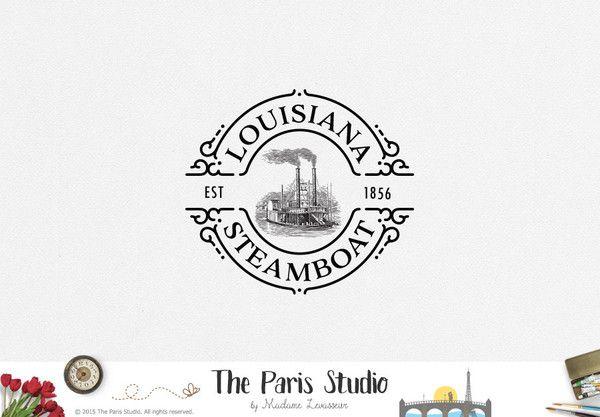 Vintage Steamboat Logo Design for website logo, blog logo, business boutique branding design.