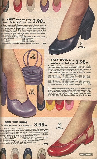 Aldens 1954 -  oh we can only WISH for such pretty shoes nowadays. Everything is sky-high!