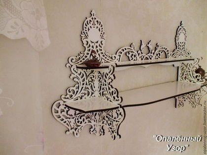 """Мебель ручной работы. Ярмарка Мастеров - ручная работа. Купить настенная полочка """"Полевые Цветы"""". Handmade. Коричневый, резьба нихромом"""