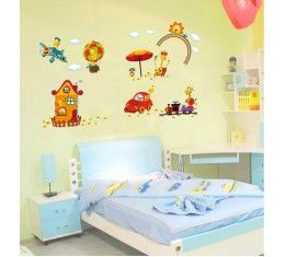 Giraff and vehicles wall sticker available at www.kidzdecor.co.za. Free postage throughout South Africa
