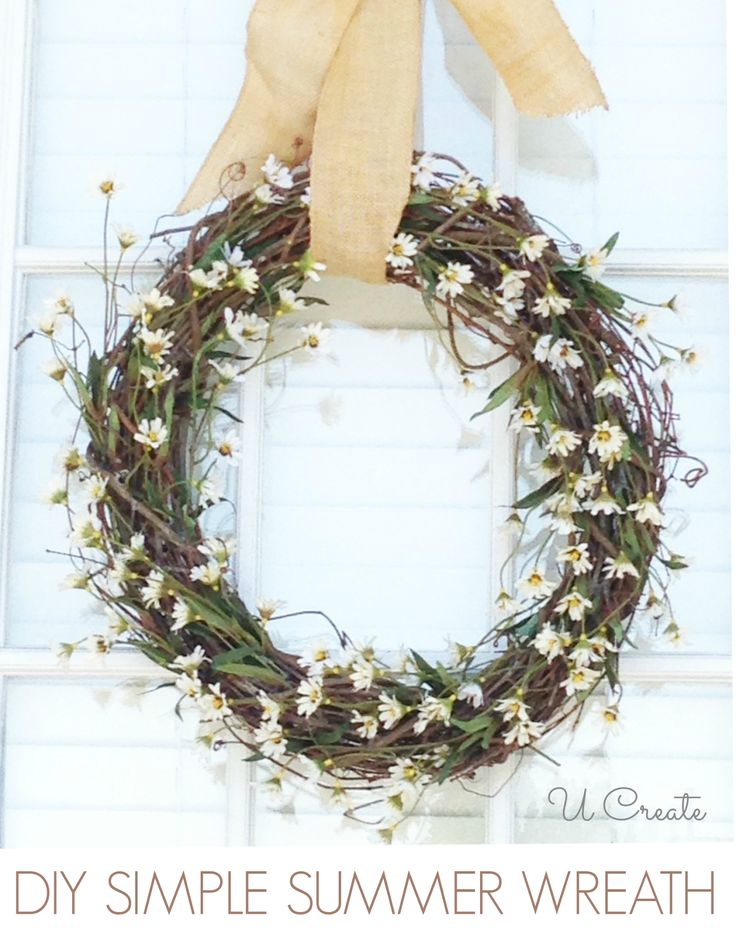 Summer Wreath Tutorial for Beginners - 3 steps! u-createcrafts.comWreaths Tutorials, Decor Ideas, Daisies Wreaths, Crafts Ideas, Diy Summer, Diy Crafts, U Createcrafts Com, Summer Wreaths, Crafts Diy