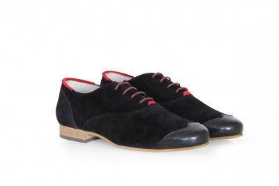 JOHN - NOIR / ROUGE #derbies #boots #shoes #men #leather #desertboots