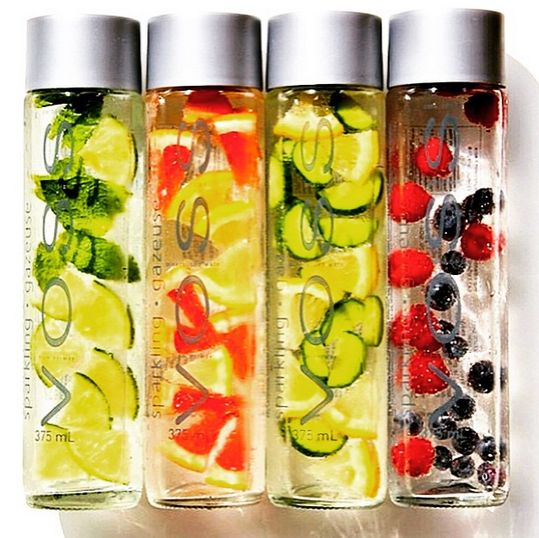 Recipes: 1) Mint + Lime 2) Grapefruit + Lemon 3) Cucumber + Lemon 4) Blueberry + Raspberry, VOSS Still + Sparkling