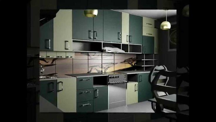дизайн кухни с фасадами светло-зеленого и темно-зеленого цветов с декором