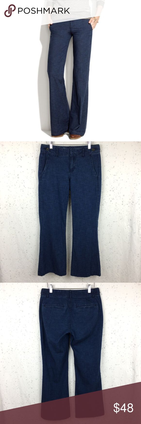 "Madewell Widelegger Lightweight Jeans 27 Madewell Widelegger Jeans, size 27. Very good condition-little to no wear. Approximate measurements: 29.5"" inseam, 15"" waist measured flat, 9"" rise. Lightweight denim, 100% cotton. Madewell Jeans Flare & Wide Leg"