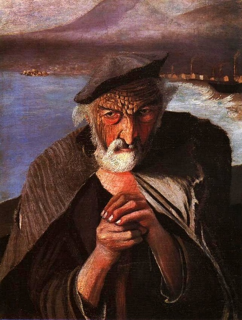 Kosztka, Tivadar Csontvary (1853-1919) - 1902 The Old Fisherman    Tivadar Kosztka Csontváry was a Hungarian painter. He was one of the first Hungarian painters to become well known in Europe.